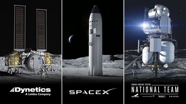 Figura 3 – I tre Lunar Lander selezionati nell'ambito del programma Artemis.